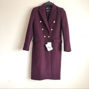 Zara Double Breasted Wool Blend Coat in Maroon